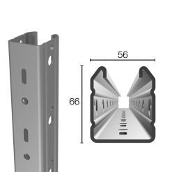 Palo di testata in acciaio prezincato 56X66 altezza 2.50 spessore 2.00 mm