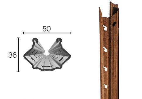 Palo in acciaio Cor-Ten 50X36mm altezza 2.50m sp.1.80mm