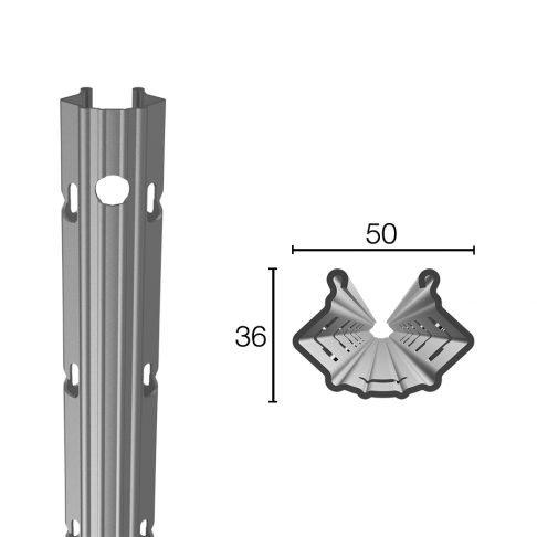 Palo in acciaio prezincato  50X36mm altezza 2.50m sp.1.50mm