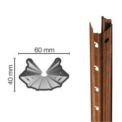 Palo in acciaio Cor-Ten 60X40mm altezza 2.50m sp.1.80mm