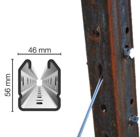 Palo di testata 46x56mm Cor-Ten altezza 2.50m sp. 2mm