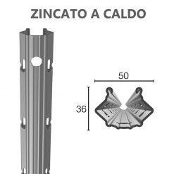 Palo in acciaio zincato a caldo  50X36mm altezza 2.5/2.8/3.00m  sp.1.65mm