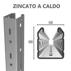 Palo di testata in acciaio zincato a caldo 56X66 altezza 2.50m spessore 2.15mm