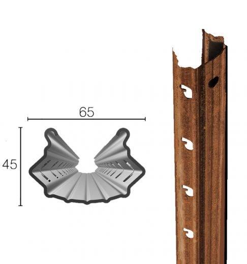 Palo in acciaio Cor-Ten 65X45 mm altezza 2.50m spessore.1.80mm